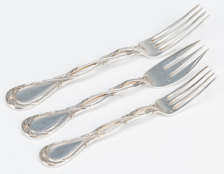 Lot 54: 66 pcs. Puiforcat Royal Pattern Sterling Silver Flatware
