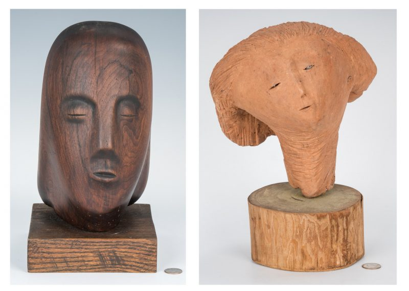Lot 553: 2 Olen Bryant Sculptures, Heads; 2 photos