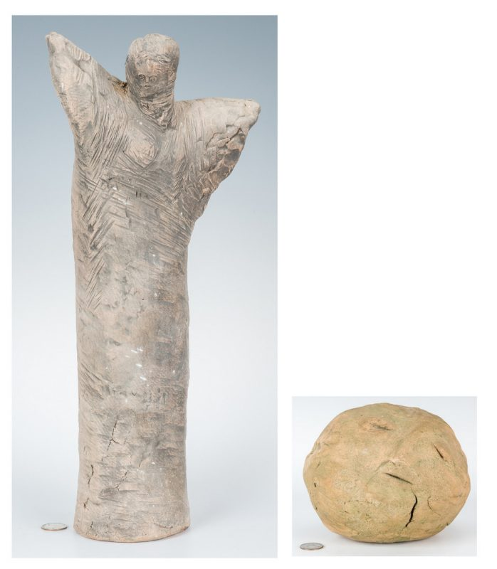 Lot 555: Olen Bryant Sculptures, Angel & Sleeping Stone