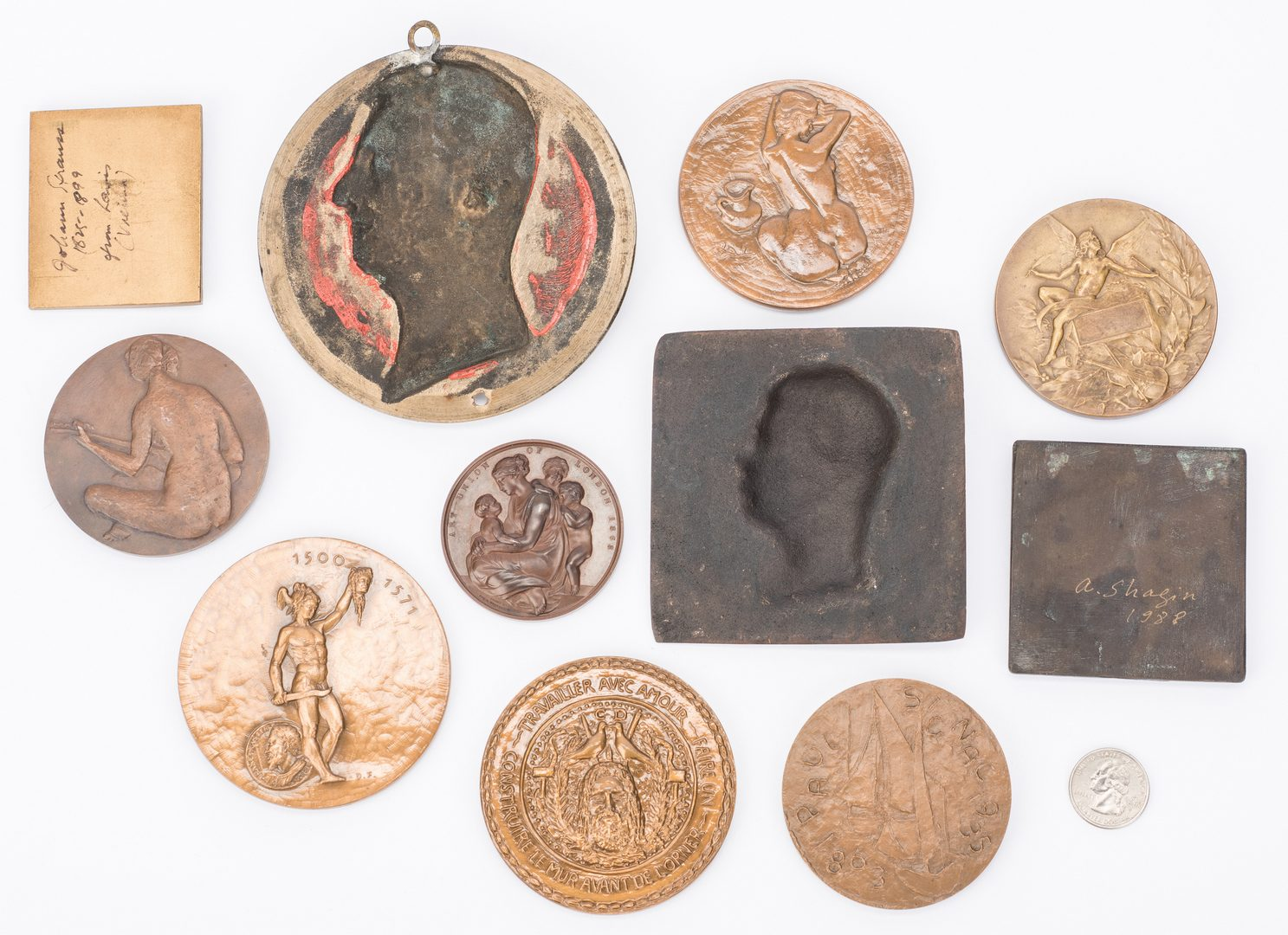 Lot 559: 34 Assembled Bronze and Silver Medallions & Plaques