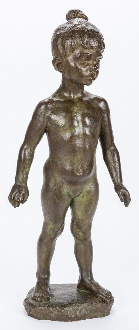 Lot 562: Marcello Tommasi, Bronze Sculpture of a Child