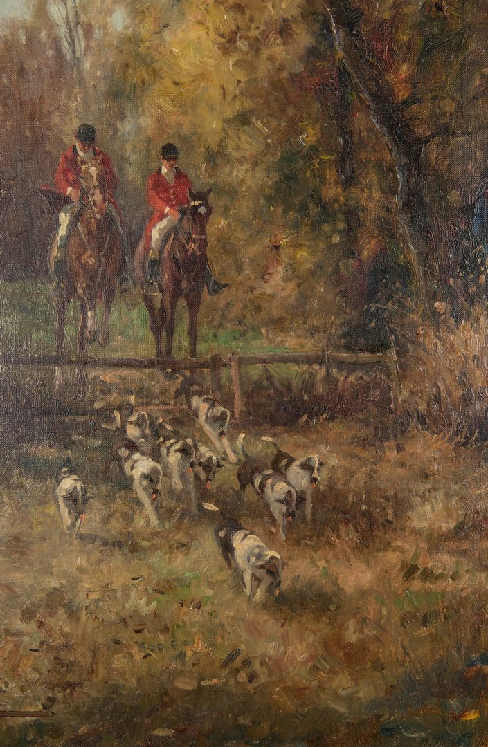 Lot 566: 3 Contemporary European Fox Hunt Paintings