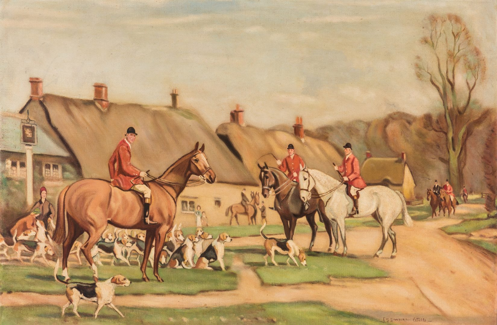 Lot 567: John Sanderson-Wells O/C, English Hunting Scene