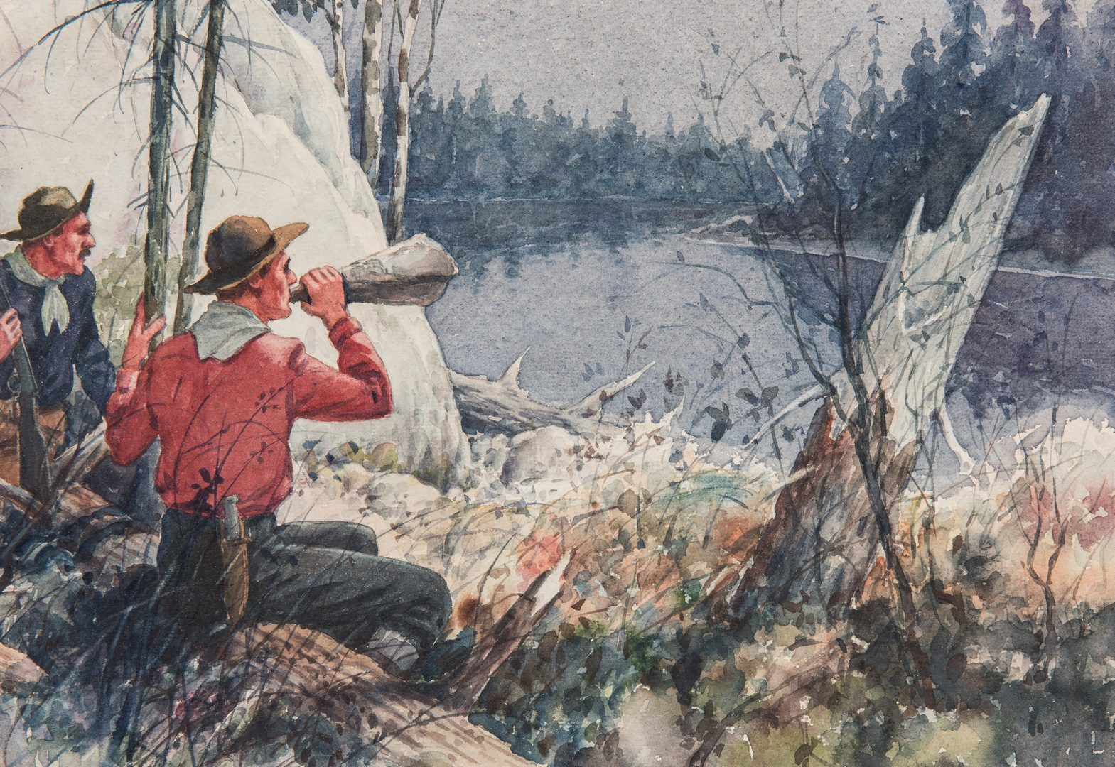 Lot 568: Herbert Rudeen Watercolor Painting, Moose Calling