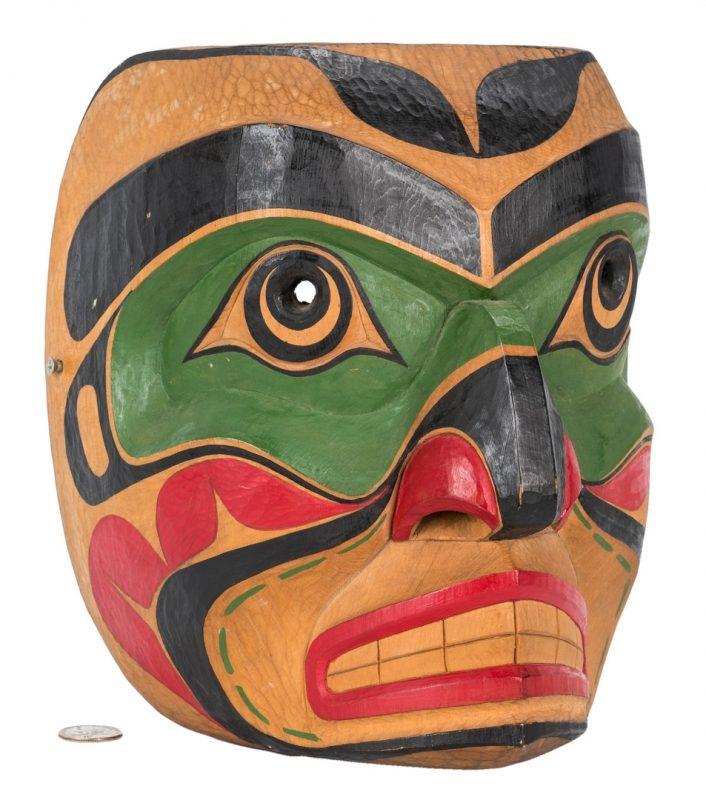 Lot 574: Randy Stiglitz Tlingit Carved Polychrome Mask