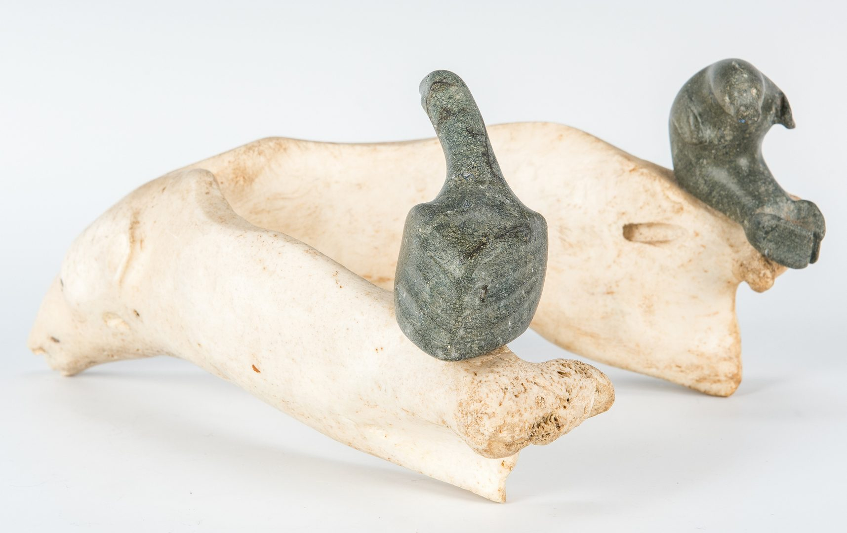 Lot 583: Inuit Carved Whalebone & Stone Sculpture