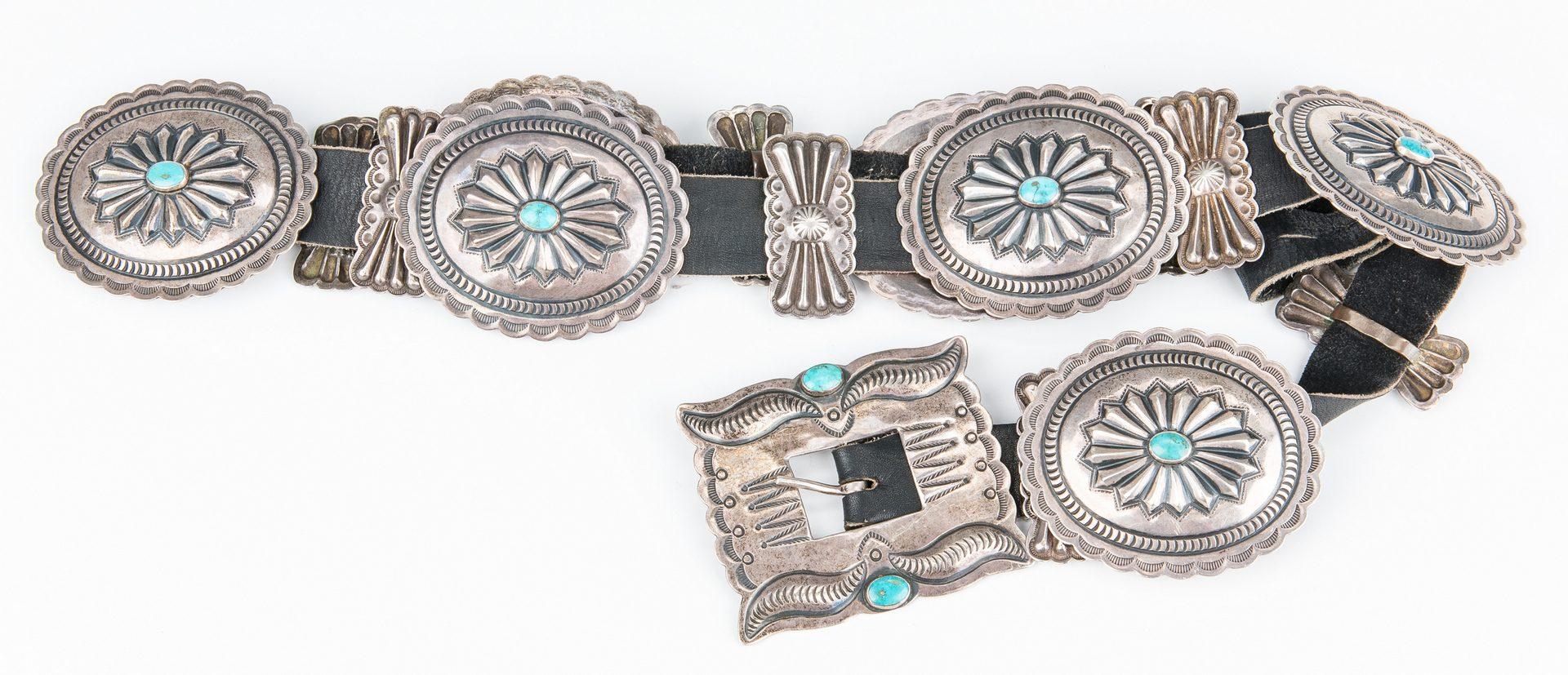 Lot 584: Navajo Concho Belt; Zuni Fetish Necklace