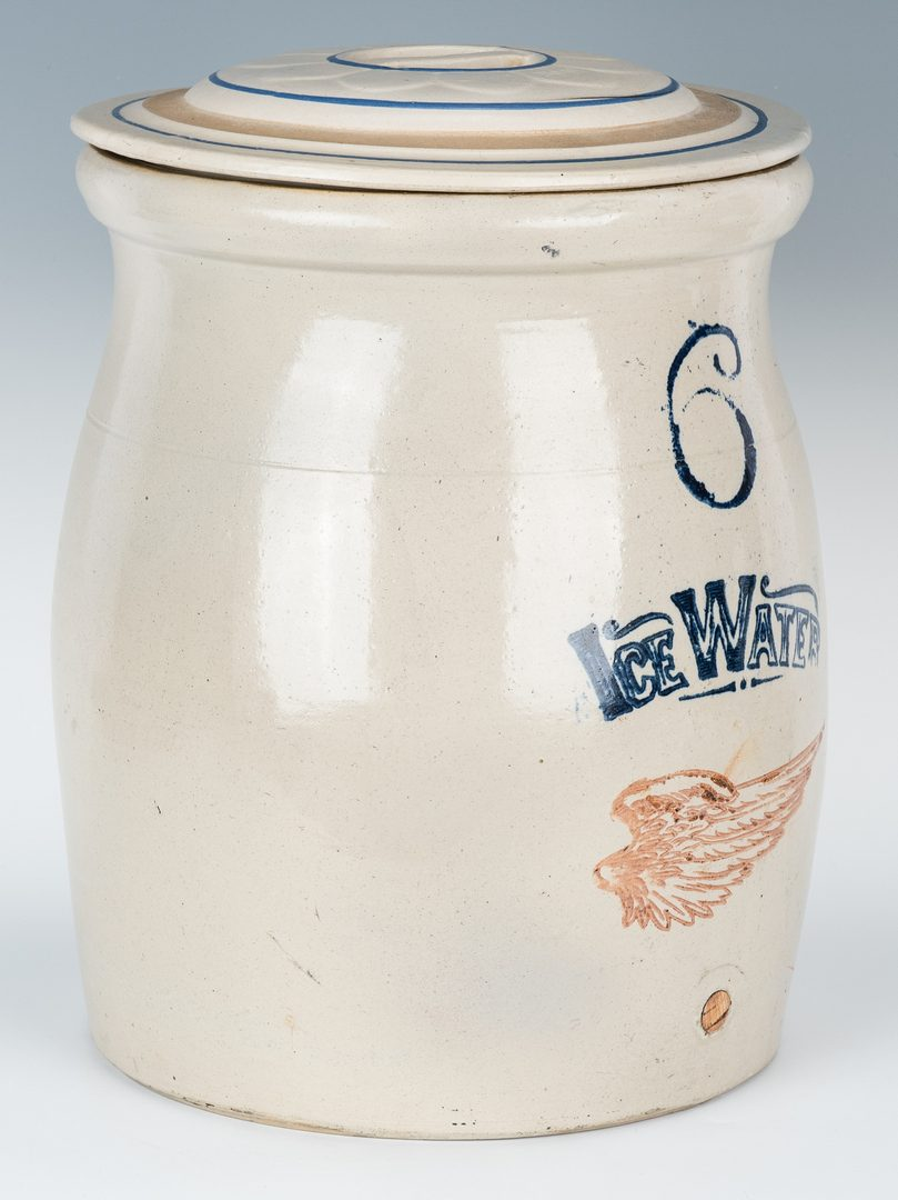 Lot 586: 6 Gal. Red Wing Stoneware Water Cooler w/ Lid