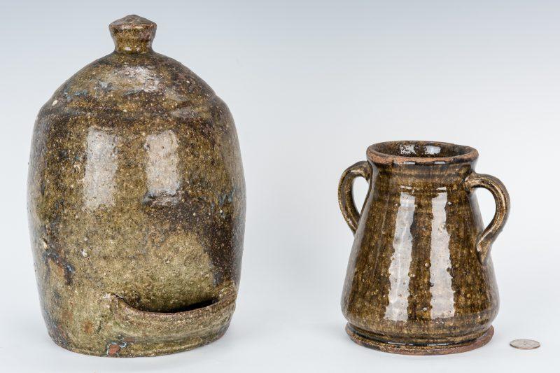 Lot 589: 2 NC Catawba Alkaline Stoneware Pottery Items