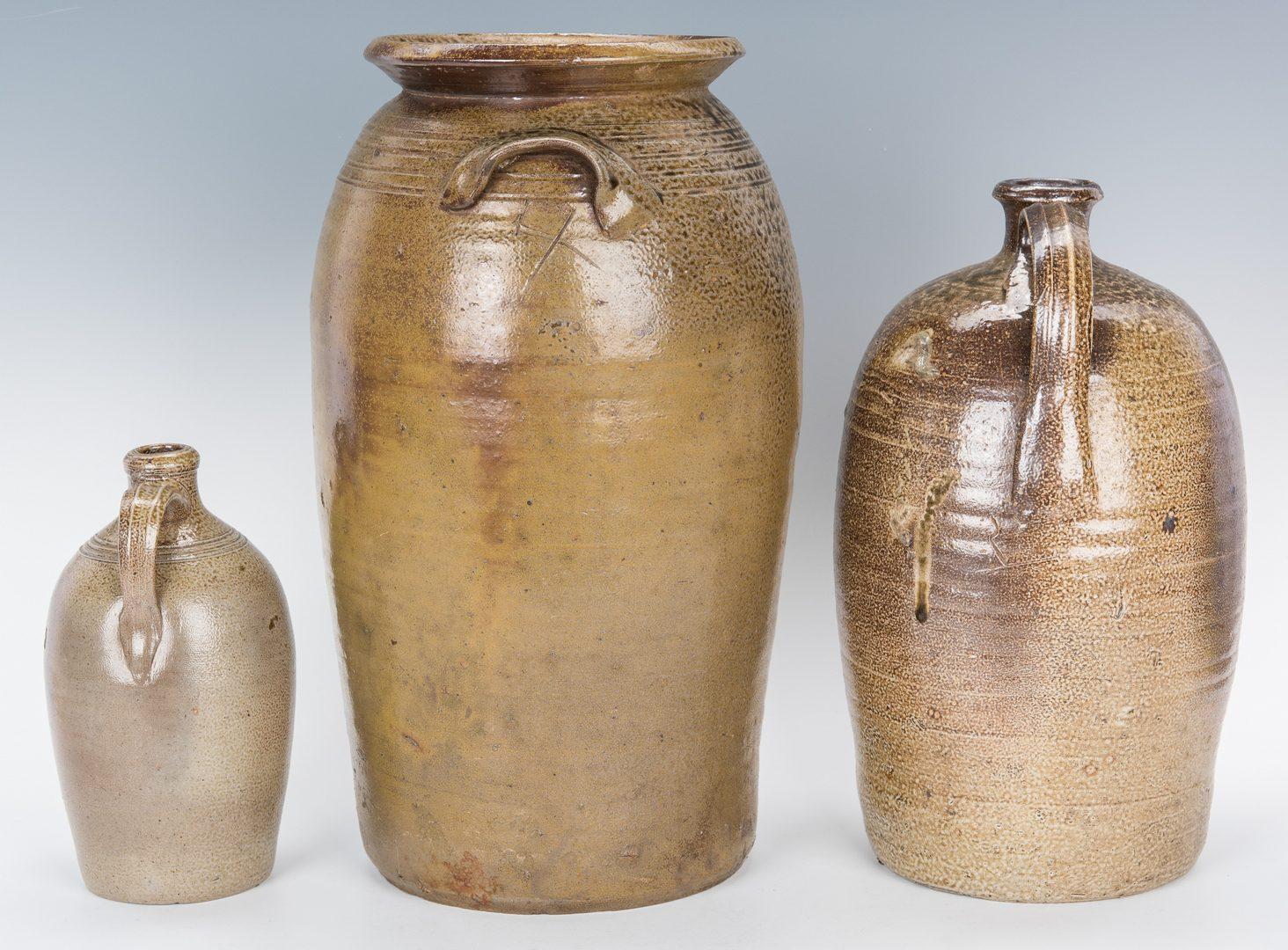 Lot 590: 3 North Carolina Salt-Glazed Pottery Items