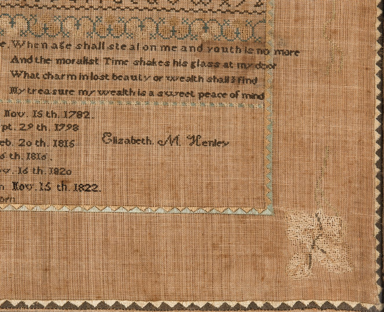 Lot 591: Tennessee Sampler, Henley Family, Knox County