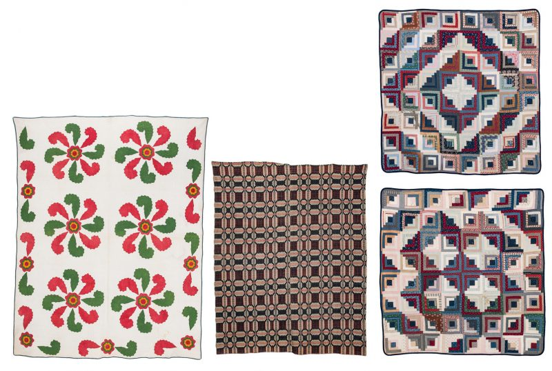 Lot 597: Coverlet and 3 quilts inc. Early TN Princess Feather & 2 Log Cabin