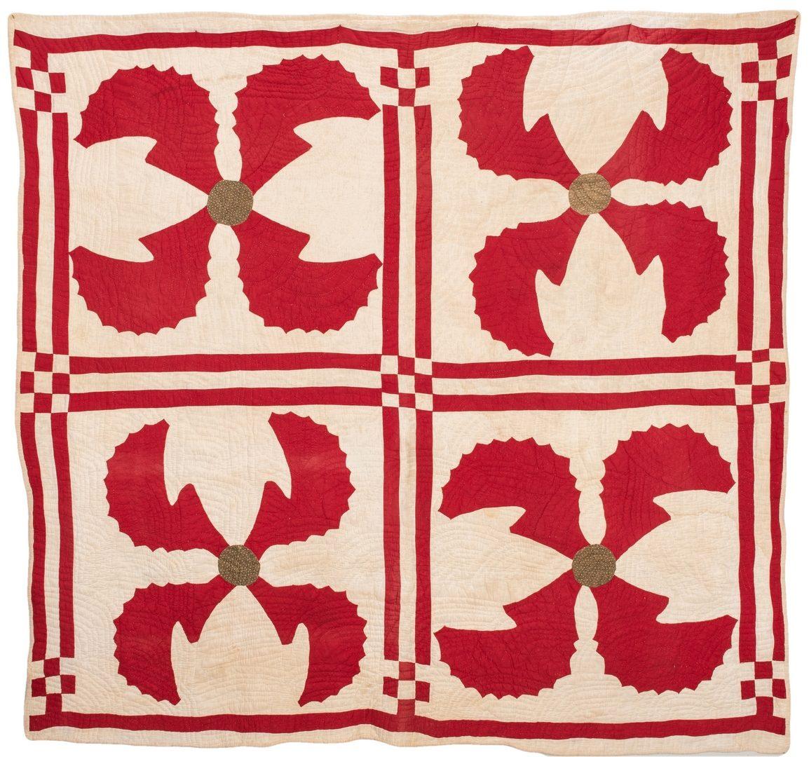Lot 598: Pieced and Appliqued 4 Quadrant Quilt