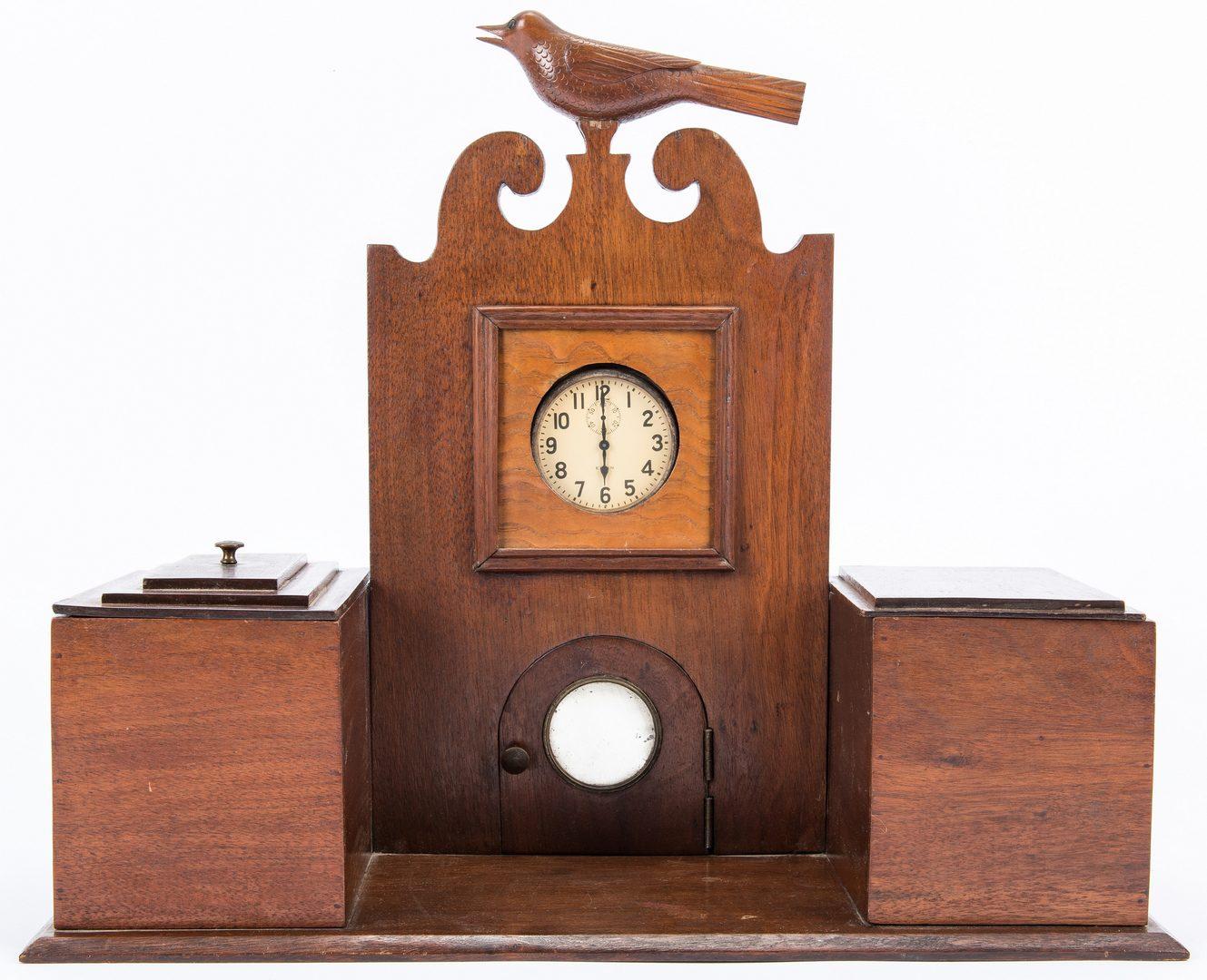 Lot 599: 4 Southern Folk Art Wooden Items, incl. Clock, VA & TN