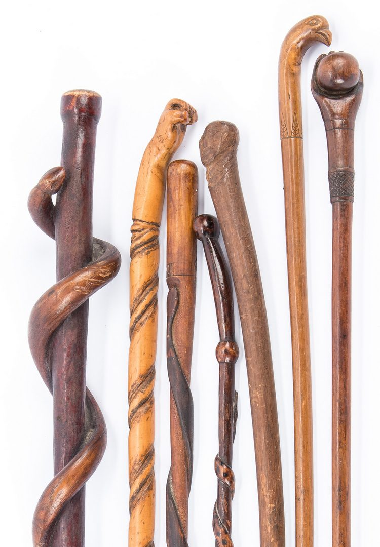 Lot 601: 7 American Folk Art Canes inc. Masonic