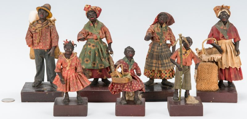 Lot 602: 7 Southern Wax Folk Art Figures, attrib. to Vargas
