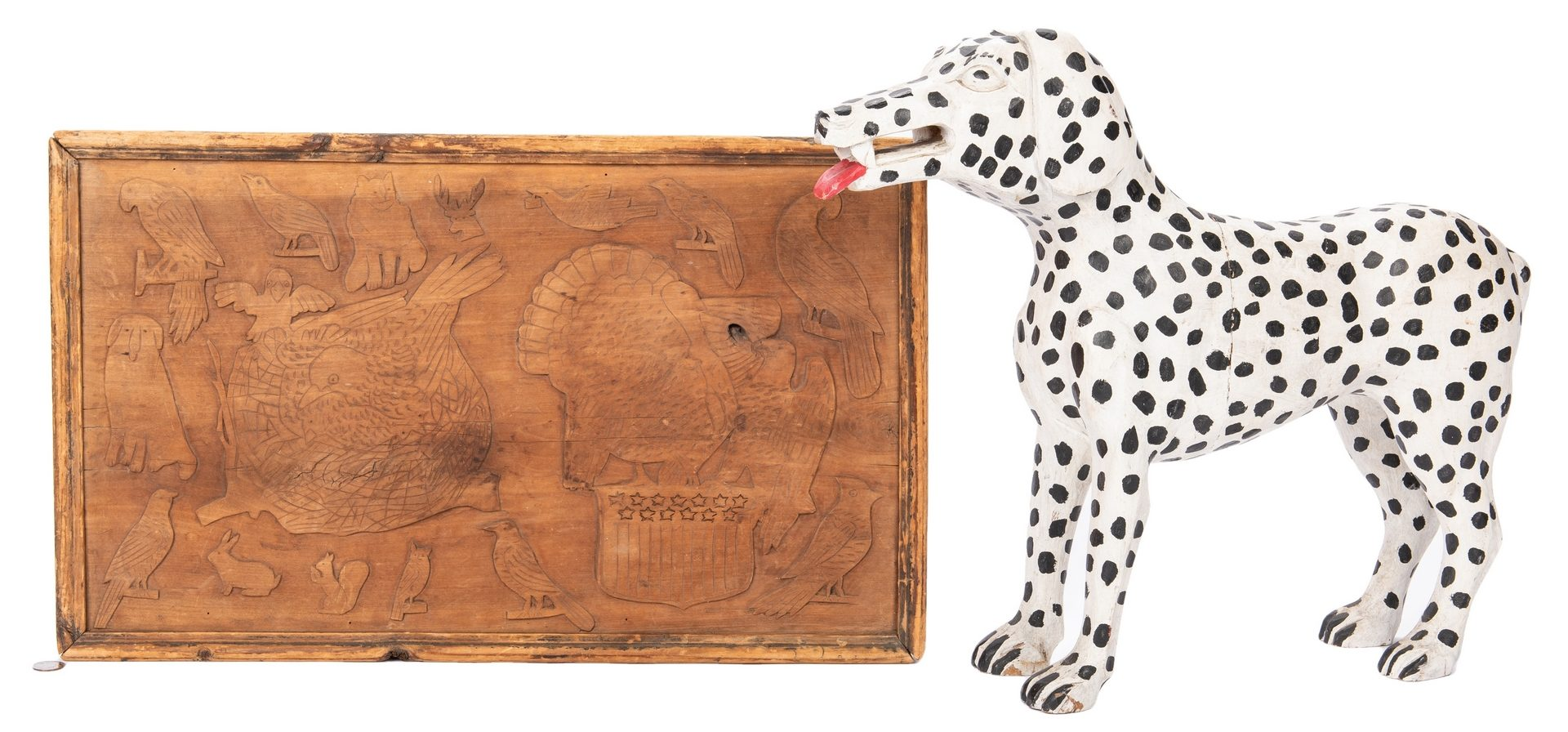 Lot 604: Folk Art: Dalmatian and Carved Plaque