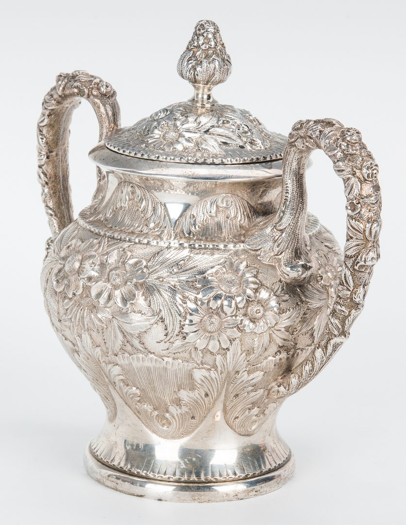 Lot 60: 3 Pc. Kirk Repousse Silver Tea Set & more