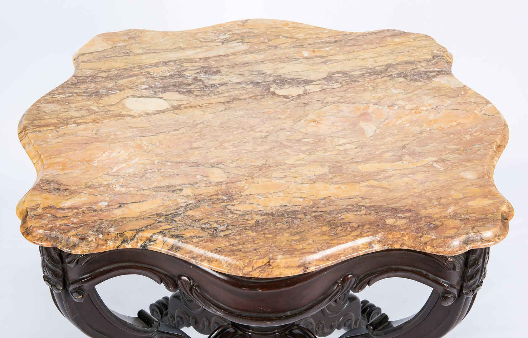Lot 614: American Rococo Rosewood Table w/ Marble Top