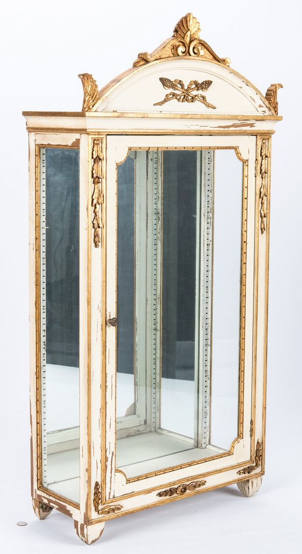 Lot 618: Neoclassical Style Hanging Curio Cabinet, w/ Sconces & Gilt Arrow