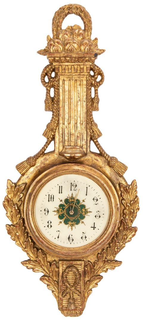 Lot 619: Giltwood Barometer Style Clock & Neoclassical Gilt Mirror