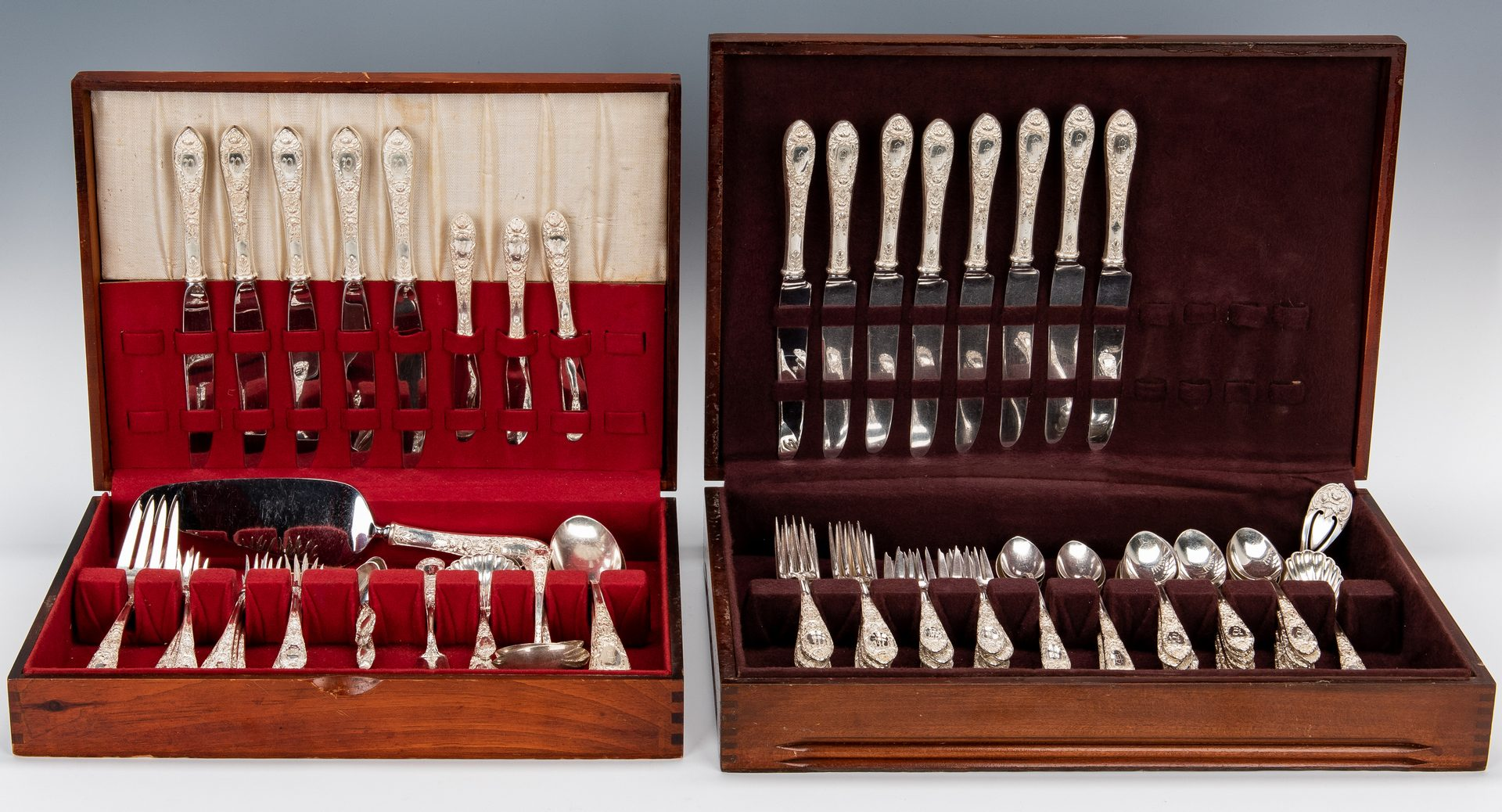 Lot 61: 116 pcs. S. Kirk & Son Rose pattern Sterling Silver Flatware