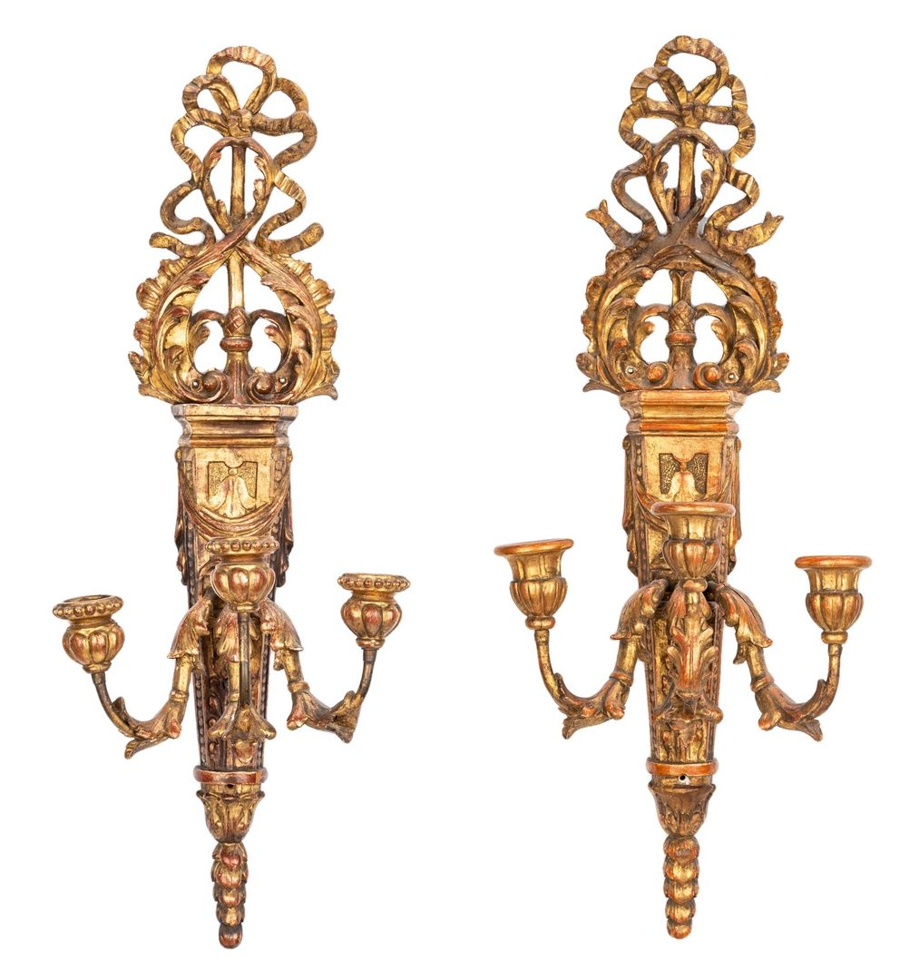 Lot 620: Pr. Italian Giltwood Carved Wall Sconces