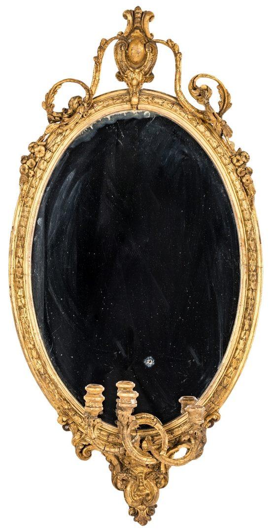 Lot 621: Gilt Rococo Girandole Mirror