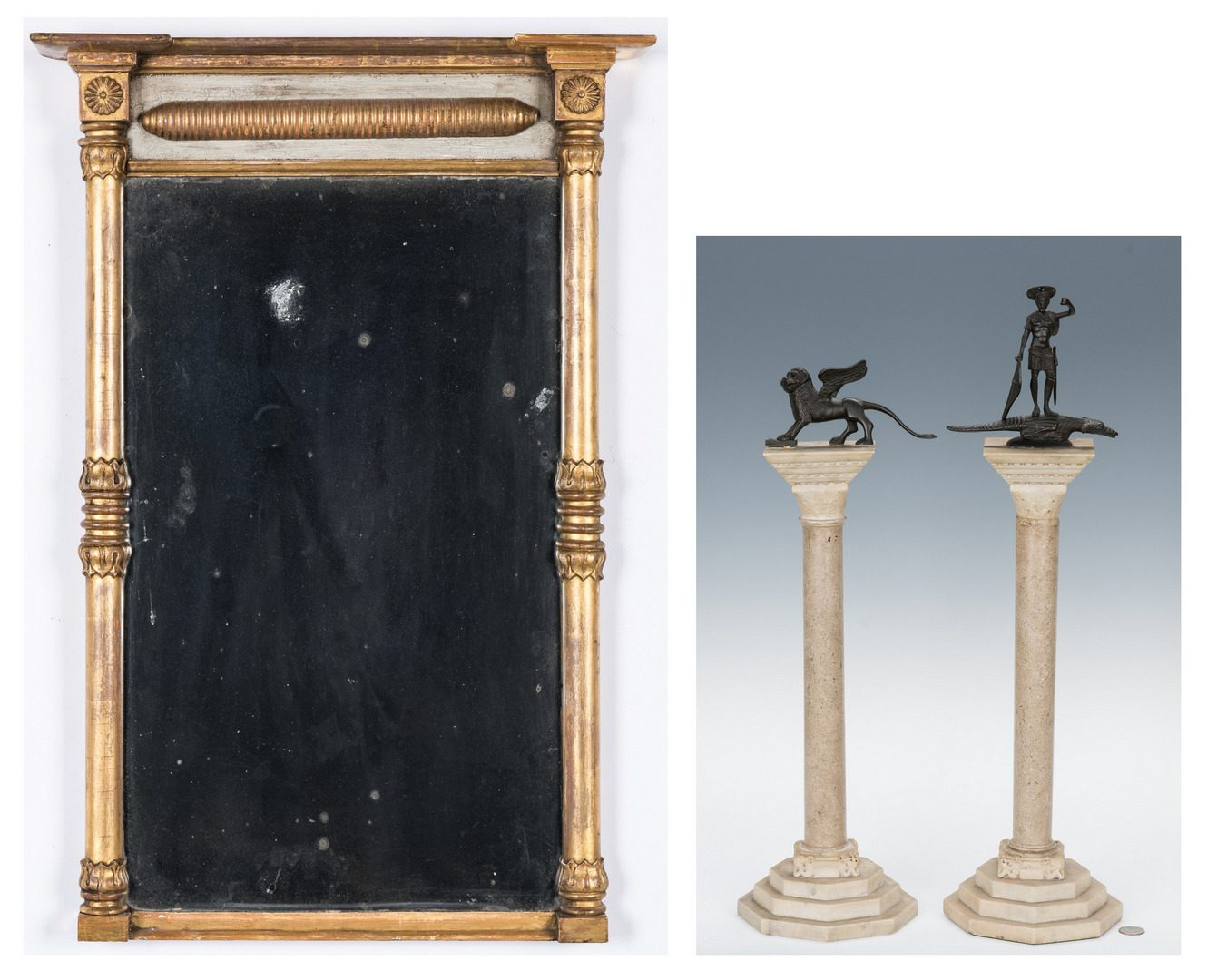 Lot 622: Regency Mirror and 2 Columns with Figures