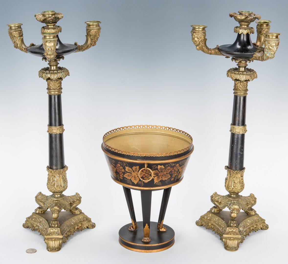 Lot 624: Pr. of Gilt Bronze Candelabra & Tole Centerpiece Basket