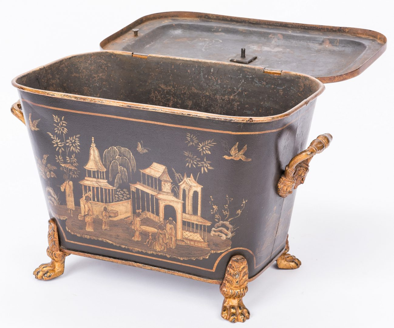 Lot 625: Tole Cistern and Coal Scuttle