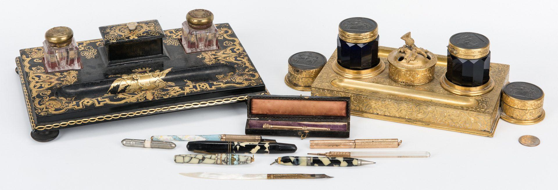 Lot 628: 2 Inkstands, Bronze & Papier Mache w/ Pens
