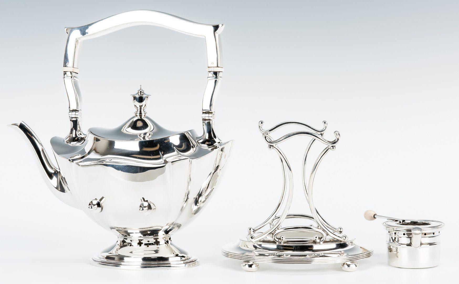 Lot 62: Gorham 7 pc Tea Set w/ Sterling Tray, Plymouth Pattern