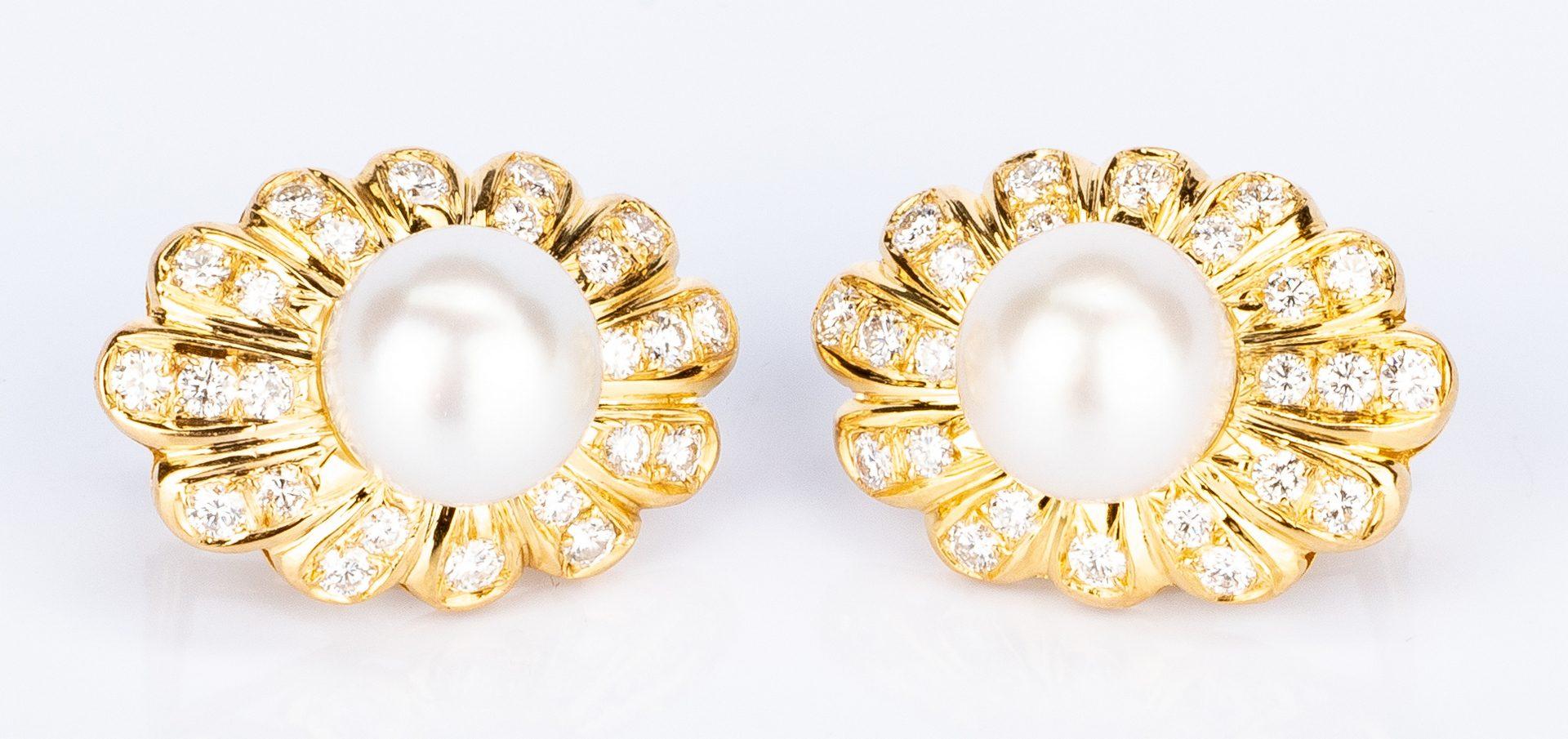Lot 631: Pair of Trio 18K Pearl Diamond Shell Earrings