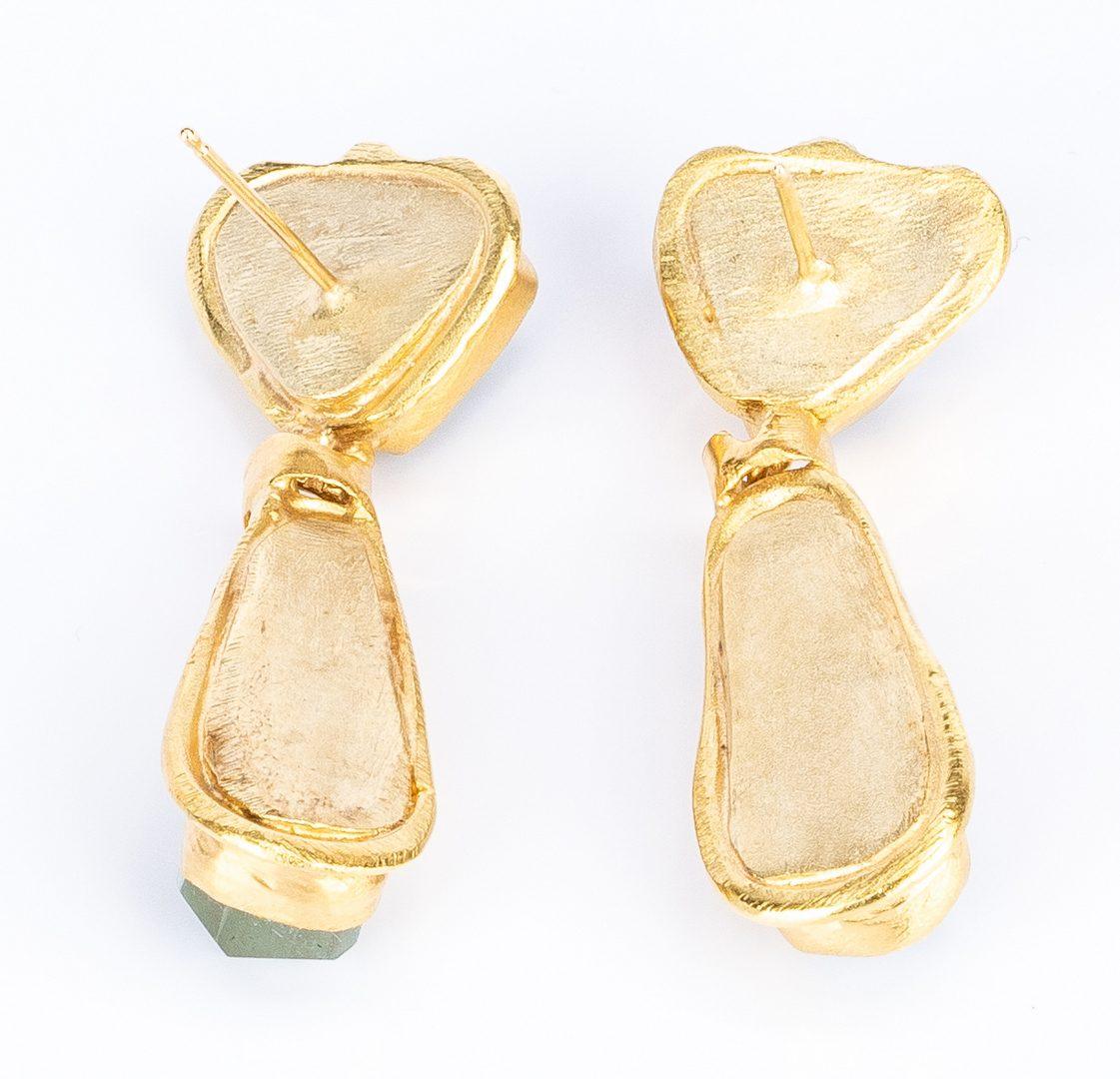 Lot 633: Pair 18K Aquamarine Pendant Earrings