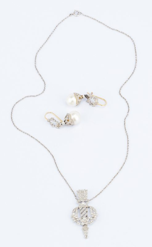 Lot 634: Vintage Diamond Necklace and Earrings