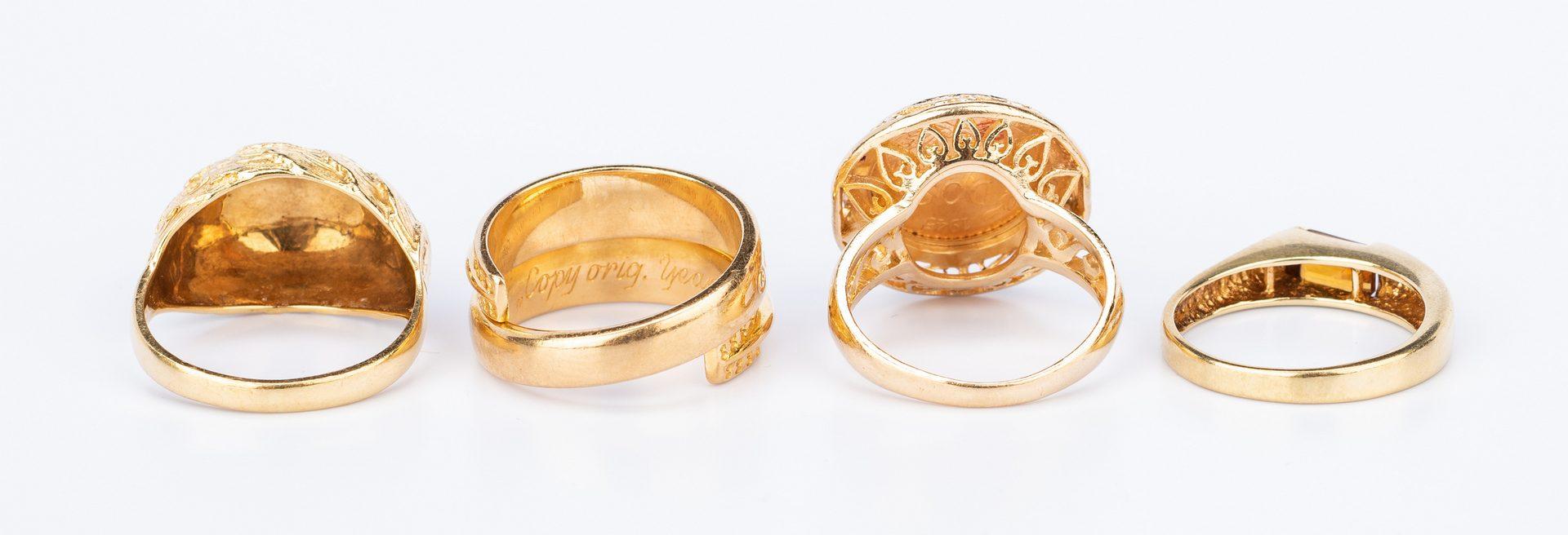Lot 636: 4 14K & 18K Fashion Rings
