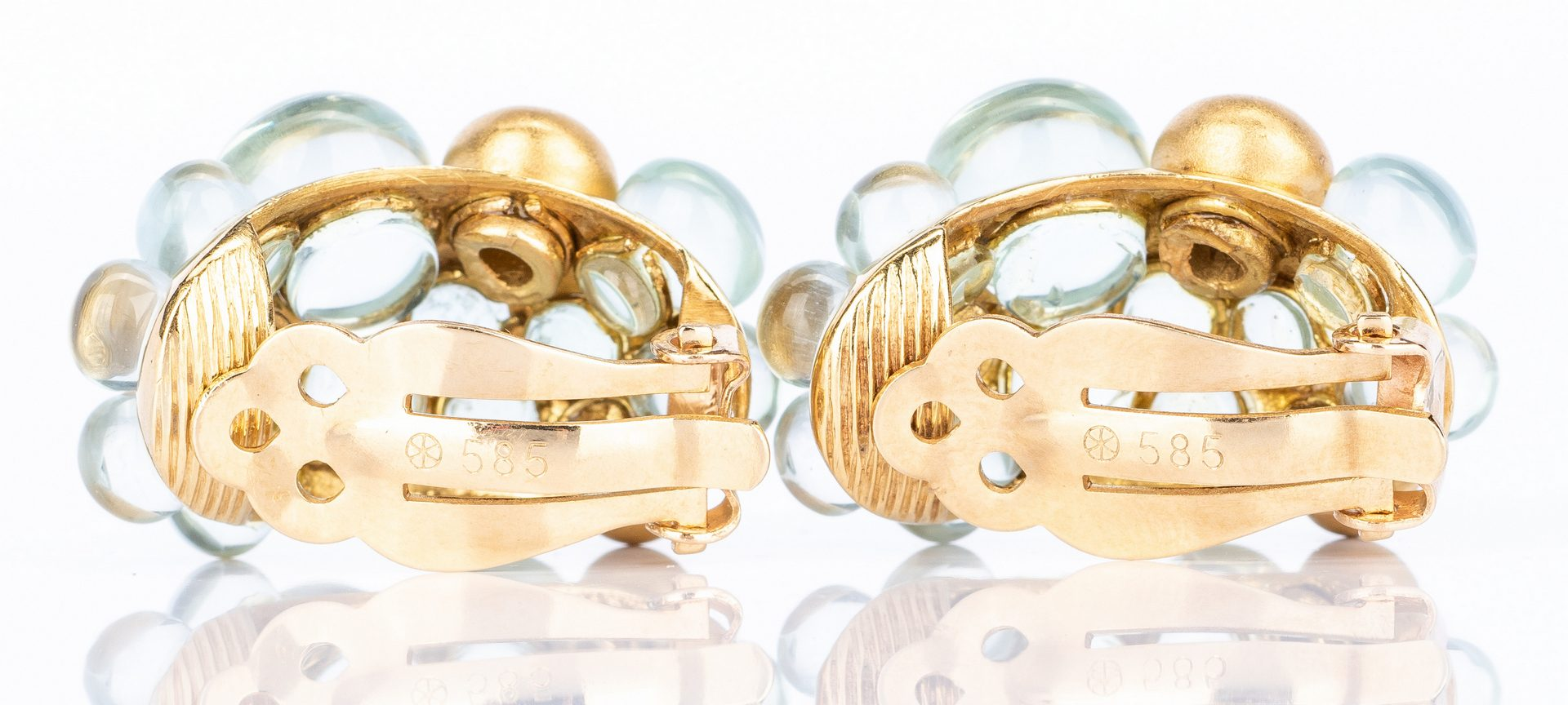 Lot 637: Lalaounis Bead Gold Ball Hoop Earrings