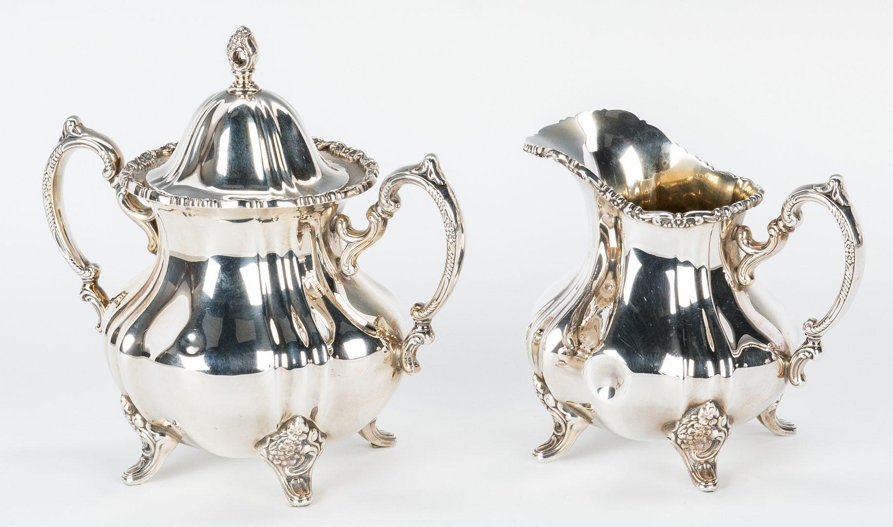 Lot 63: Poole Sterling Tea Set w/ Sterling Tray, Lancaster Rose