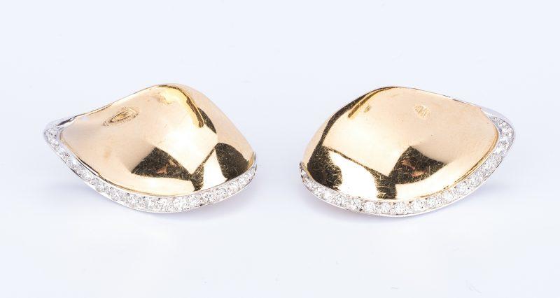 Lot 640: Scavia 18K Petal Diamond Earrings