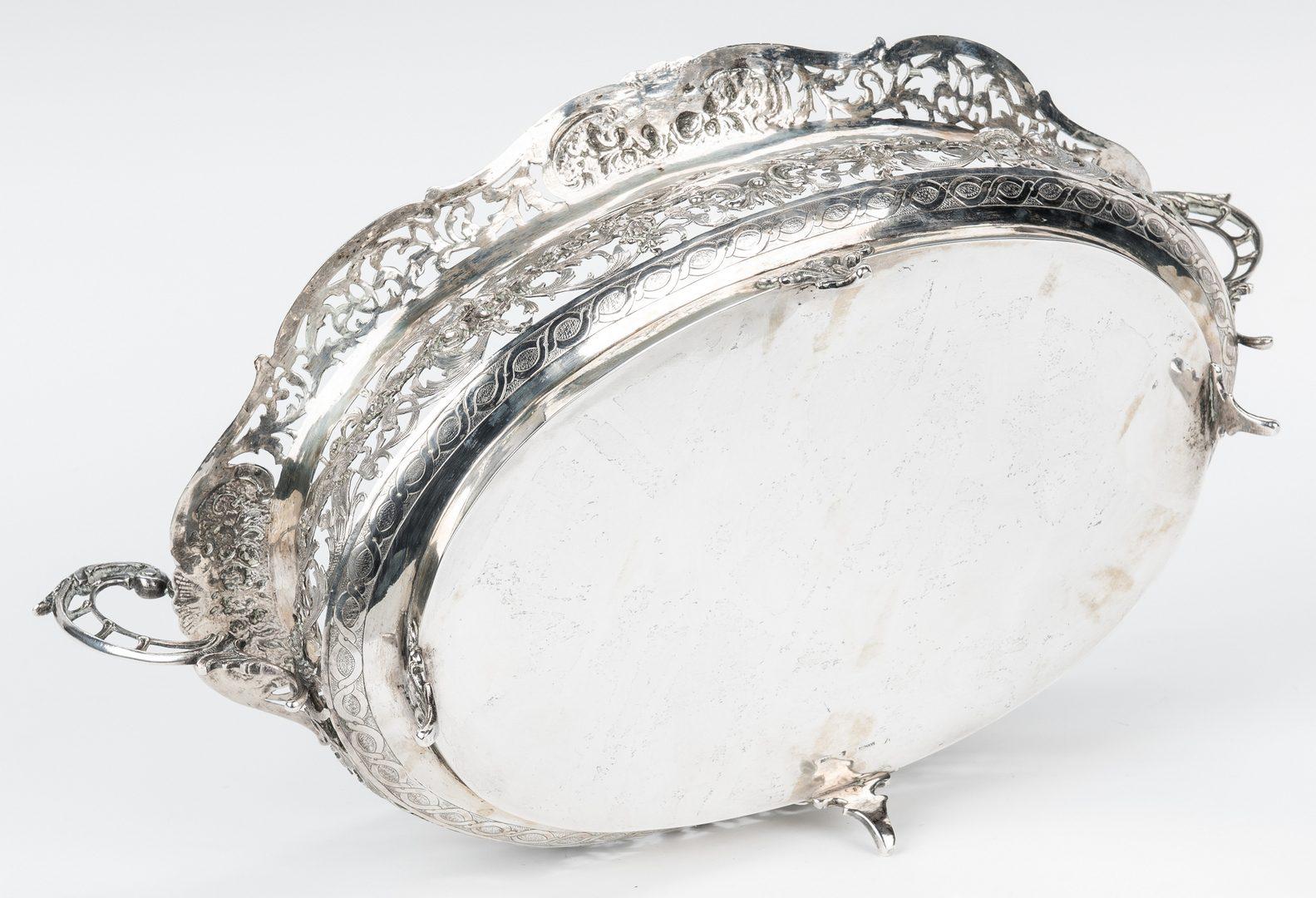 Lot 646: German .800 Silver Pierced Oval Centerpiece Bowl