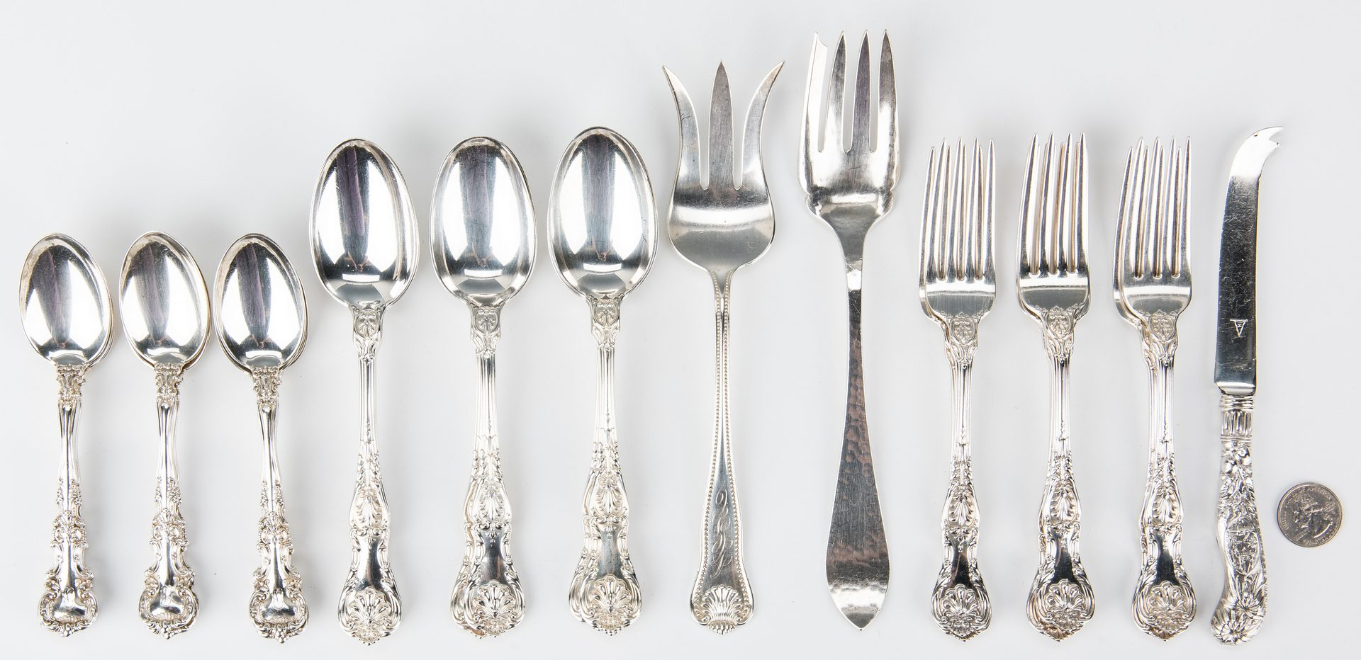 Lot 648: 36 pcs. Assd. Sterling Silver, incl. Gorham King George