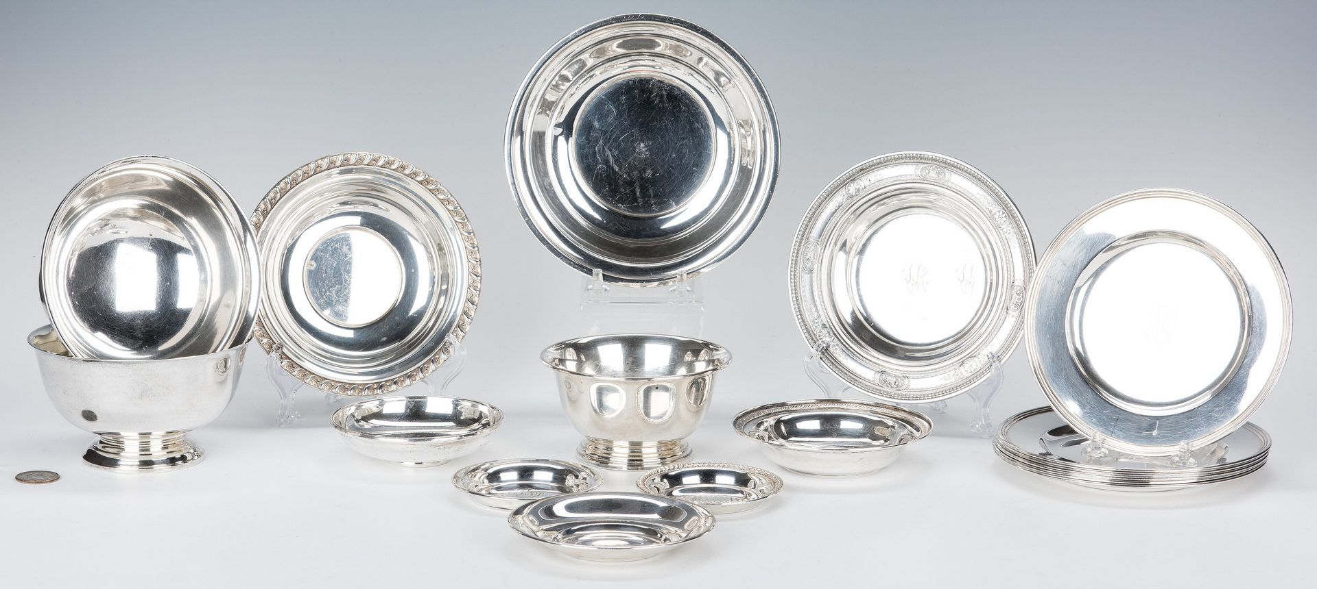 Lot 649: 17 pc Sterling Holloware incl.  Bread Plates and Bowls