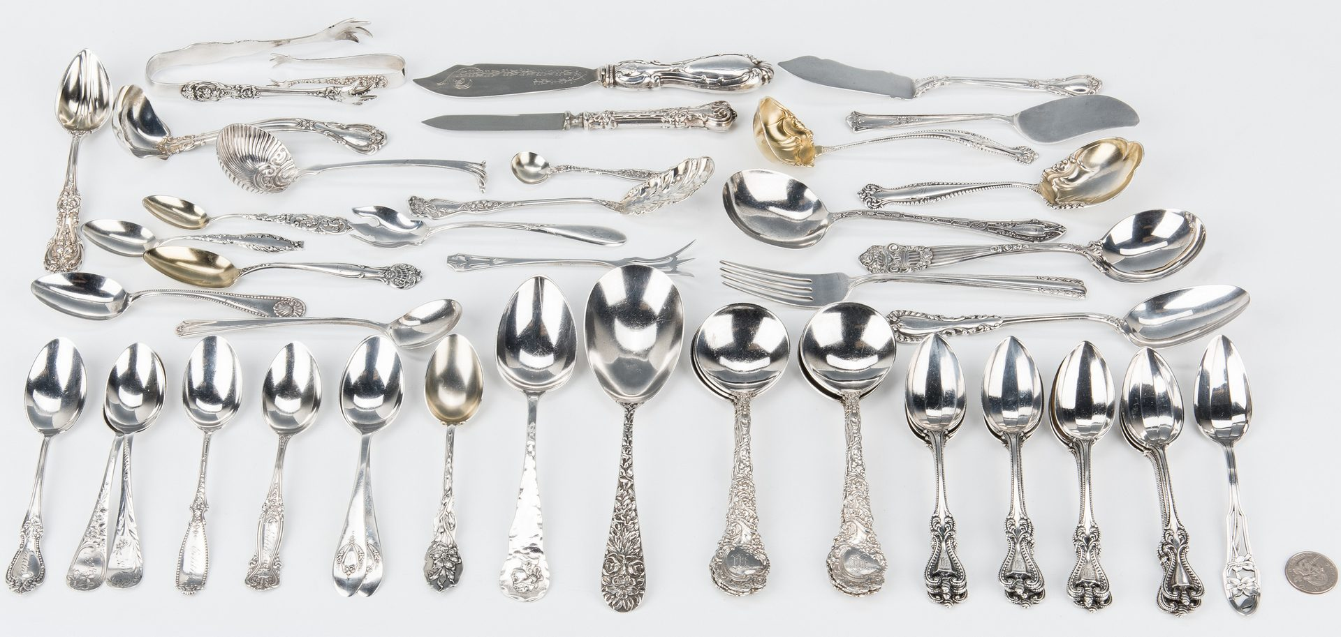 Lot 652: 53 pcs. American Sterling Flatware, incl. Towle