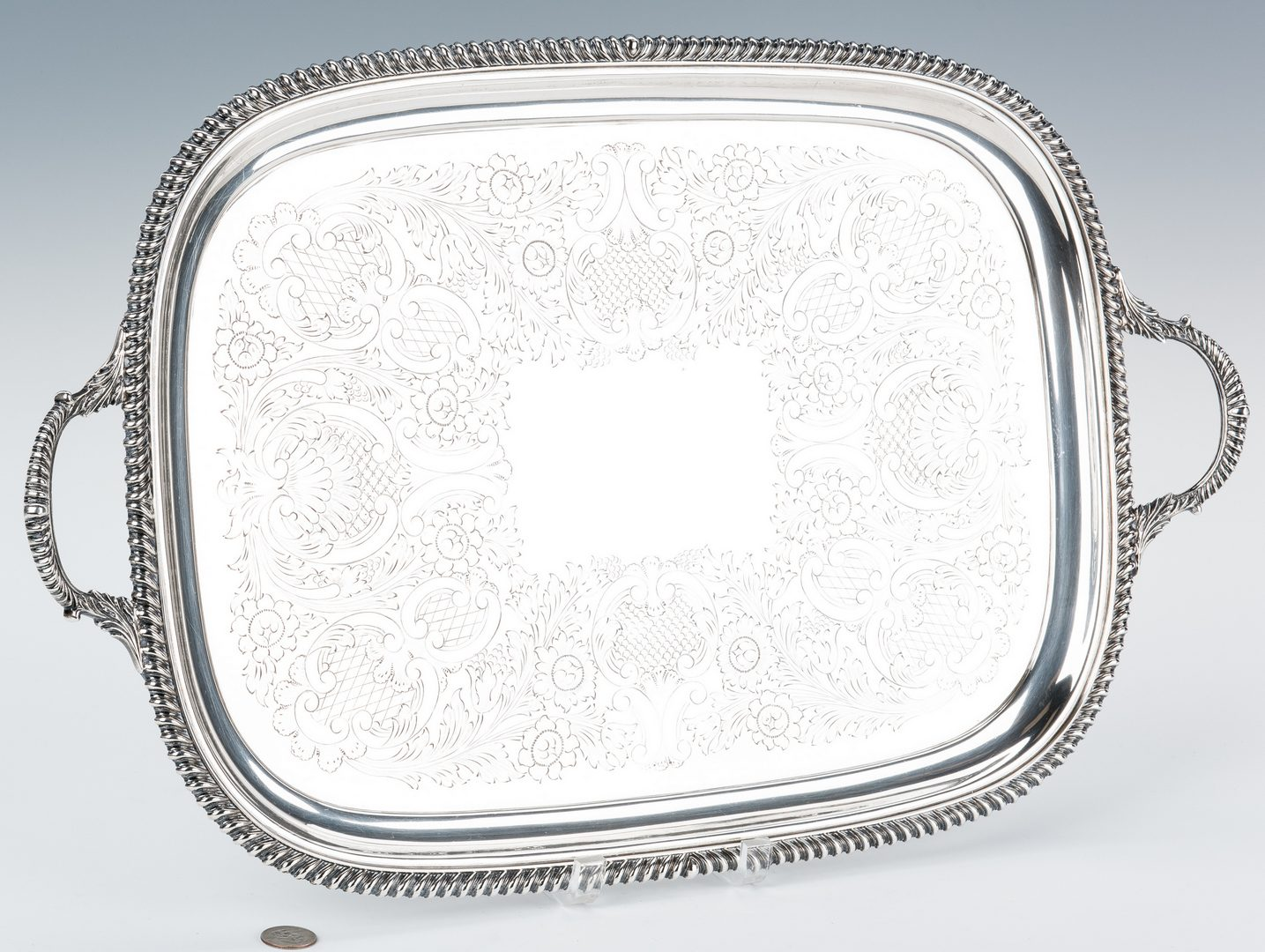 Lot 65: English Sterling Serving Tray, 108 oz by Barker Bros.