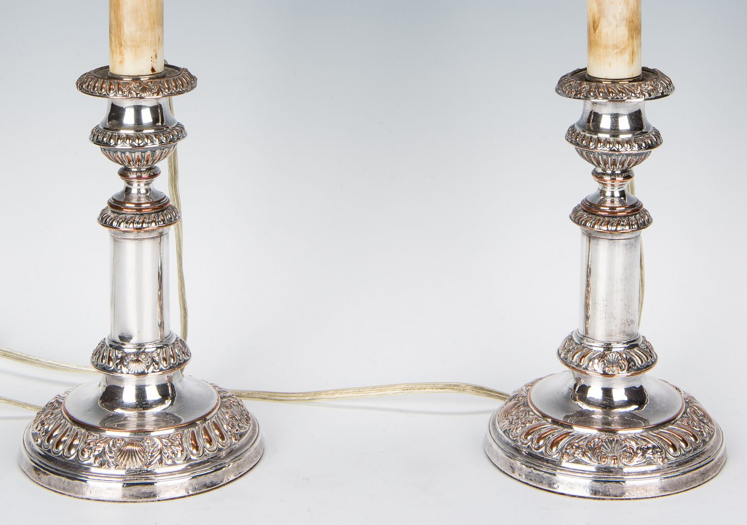 Lot 663: Pair Tiffany & Sheffield Candlesticks, Sheffield Wine Coolers & Bolton Basket