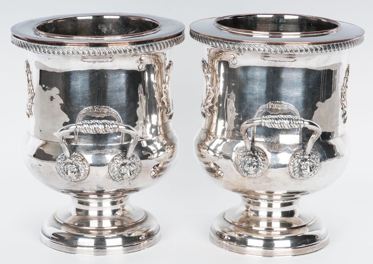 Lot 663: Pair Tiffany & Sheffield Candlesticks, Sheffield Wine Coolers & Bolton Basket