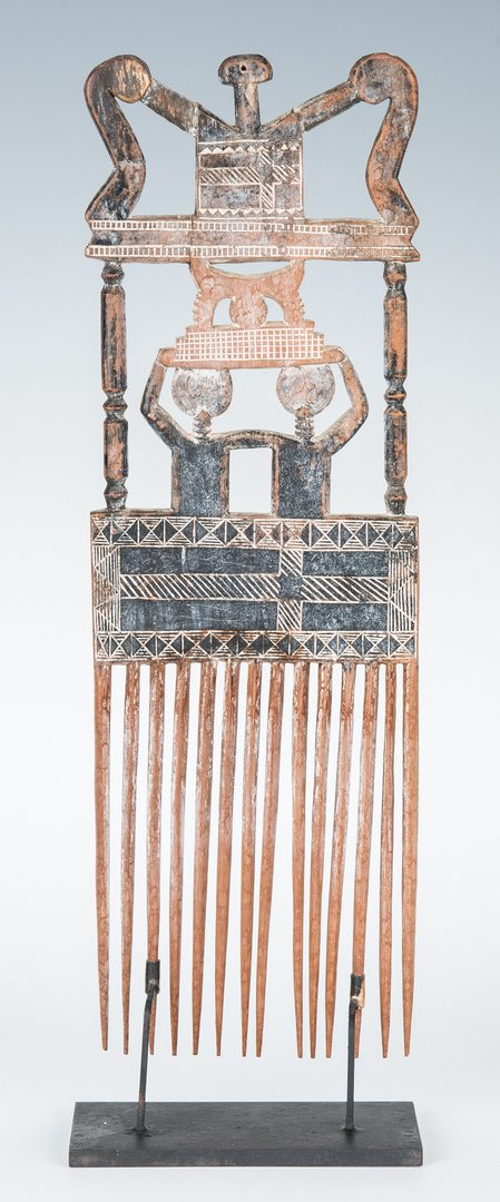 Lot 665: 2 African Items, incl. Comb, Walking Stick