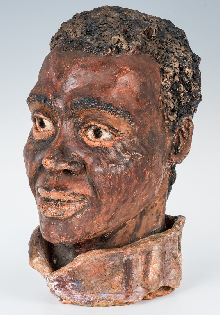 Lot 667: Painted Terracotta African American Head