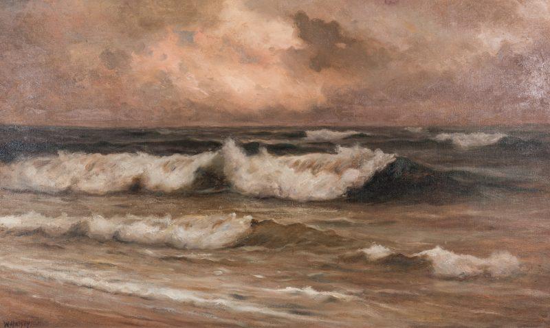 Lot 669: William Halsey O/C, Crashing Waves Seascape